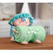 Kit Manta Microfibra com Bonequinho de Pelúcia Baby Bouton Puppy Verde Água