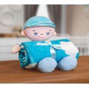 Kit Manta Microfibra com Bonequinho de Pelúcia Baby Bouton Sky Azul