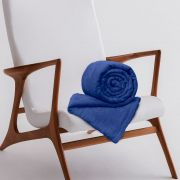 Manta de Microfibra Casal Toque Flannel 1,80m x 2,20m Rozac Azul Royal