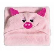 Manta de Microfibra Infantil  c/ Capuz 90 cm x 90 cm Pig