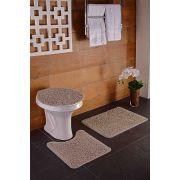 Tapete para Banheiro Kit com 3 Peças High Algodão Oásis Caqui