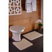 Tapete para Banheiro Kit com 3 Peças High Algodão Oásis Cru