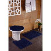 Tapete para Banheiro Kit com 3 Peças High Algodão Oásis Marinho