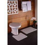 Tapete para Banheiro Kit com 3 Peças Relevo Oásis Prata