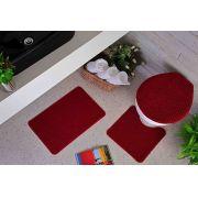 Tapete para Banheiro Kit com 3 Peças Relevo Oásis Vermelho