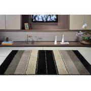 Tapete para Sala Quarto 1,00m x 1,50m Classic Design Preto Oasis