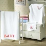 Toalha de Banho com capuz para Bordar Dohler Aveludada Baby Classic Coroinhas
