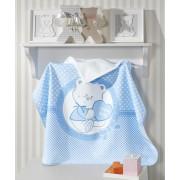 Toalha de Banho para Bebê com Capuz 100% Algodão Happy Baby Azul