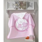 Toalha de Banho para Bebê com Capuz Dohler 100% Algodão Happy Baby Rosa