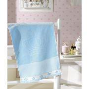 Toalha de Lavabo para Bordar Dohler Baby Classic Velour Coroinhas Azul