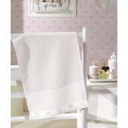 Toalha de Lavabo para Bordar Dohler Baby Classic Velour Coroinhas Branca