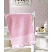 Toalha de Lavabo para Bordar Dohler Baby Classic Velour Coroinhas Rosa