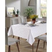 Toalha de Mesa para 8 Cadeiras Jacquard Retangular Liso Requinte II Branca Dohler