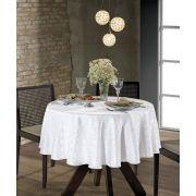 Toalha de Mesa Redonda para 4 Cadeiras Jacquard Requinte II Branca Dohler