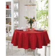 Toalha de Mesa Redonda para 4 Cadeiras Jacquard Requinte II Vermelho Dohler