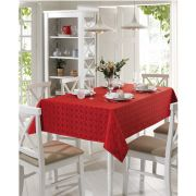 Toalha de Mesa Retangular para 6 Cadeiras Jacquard Requinte II Vermelha Dohler