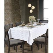 Toalha de Mesa Retangular para 8 Cadeiras Jacquard Requinte II Branca Dohler
