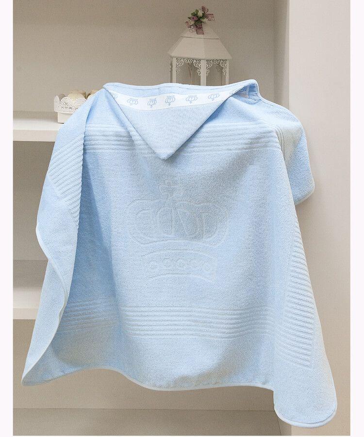 Toalha de Banho com capuz para Bordar Dohler Baby Classic Coroinhas Azul