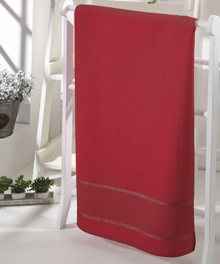 Toalha de Banho para Bordar Aveludada Bella Liso Vermelha Dohler