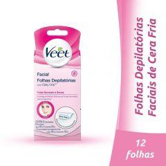 Folhas Depilatórias Veet Peles Delicadas Facial com 12 unidades