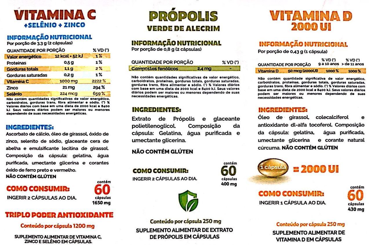 Box Imunidade: Vitamina C, Zinco, Própolis e Vitamina D