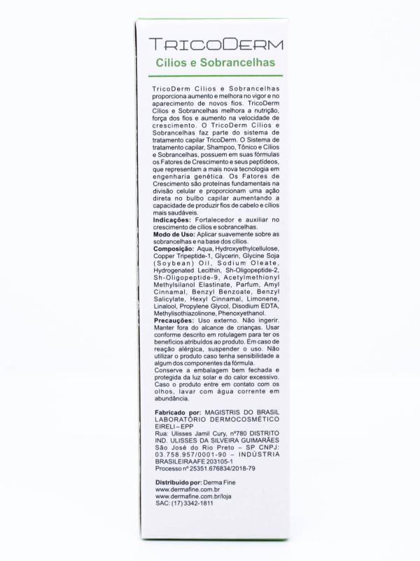 Fortalecedor de Cílios e Sobrancelhas Tricoderm Derma Fine 10ml
