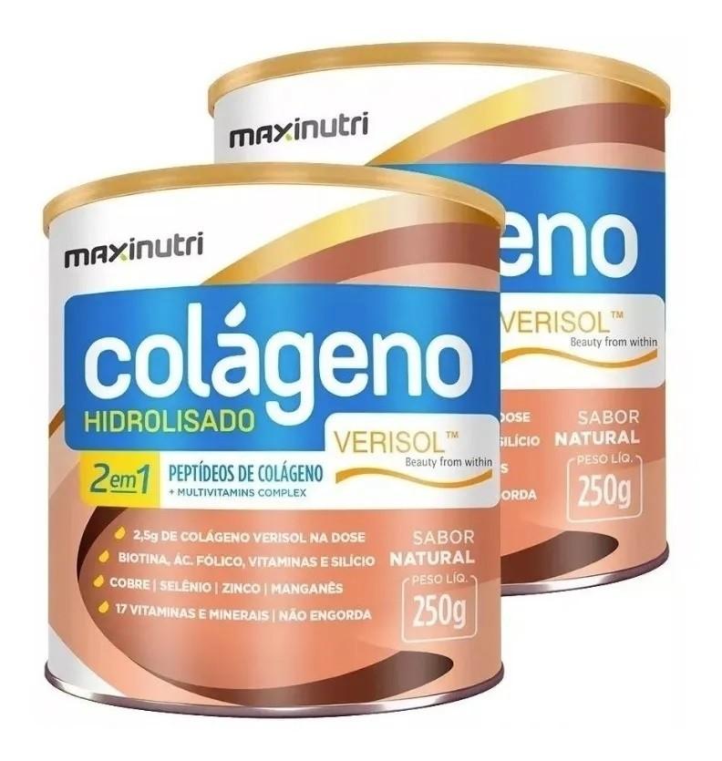 Kit 2 Suplemento de Colágeno Hidrolisado 2 em 1 Verisol 250g Maxinutri