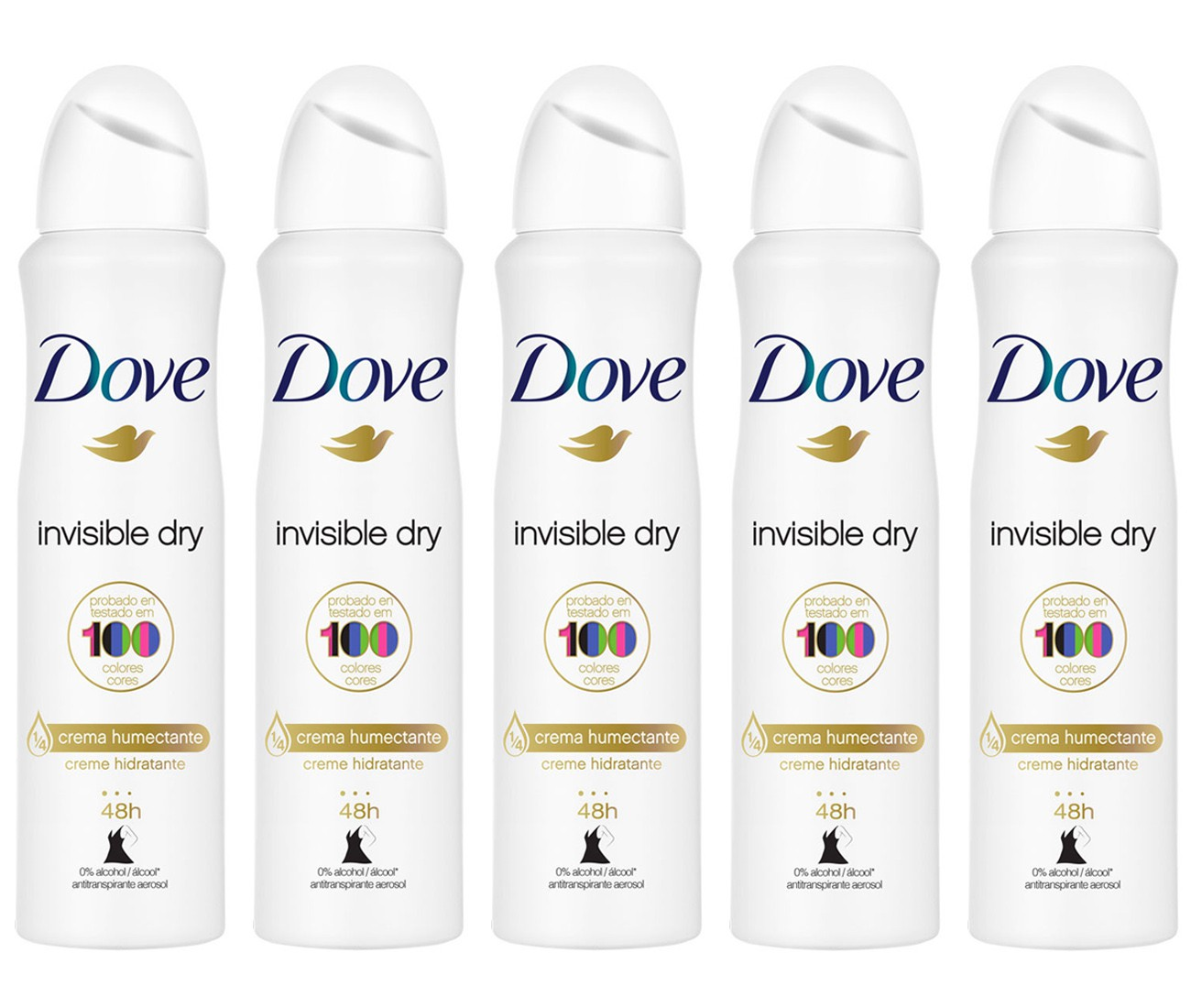 Kit 5 Desodorante Antitranspirante Aerosol Dove Invisible Dry 150ml