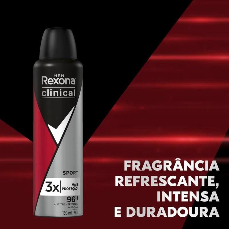 Kit 5 Desodorante Antitranspirante Rexona Aerosol Clinical Sport 150ml