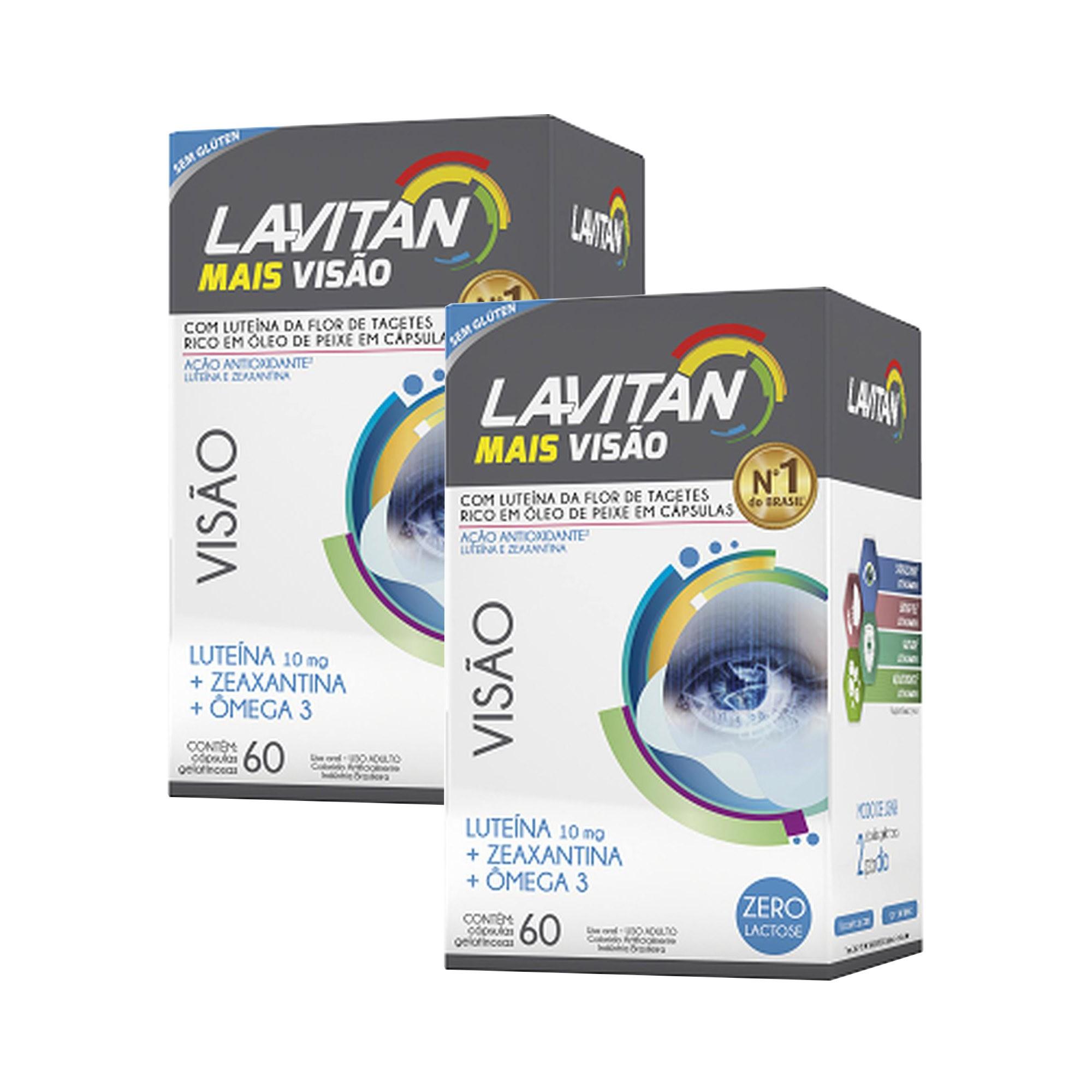 Kit C/ 2 Caixas Luteína + Zeaxantina + Ômega 3 Lavitan Mais Visão - 60 Cápsulas