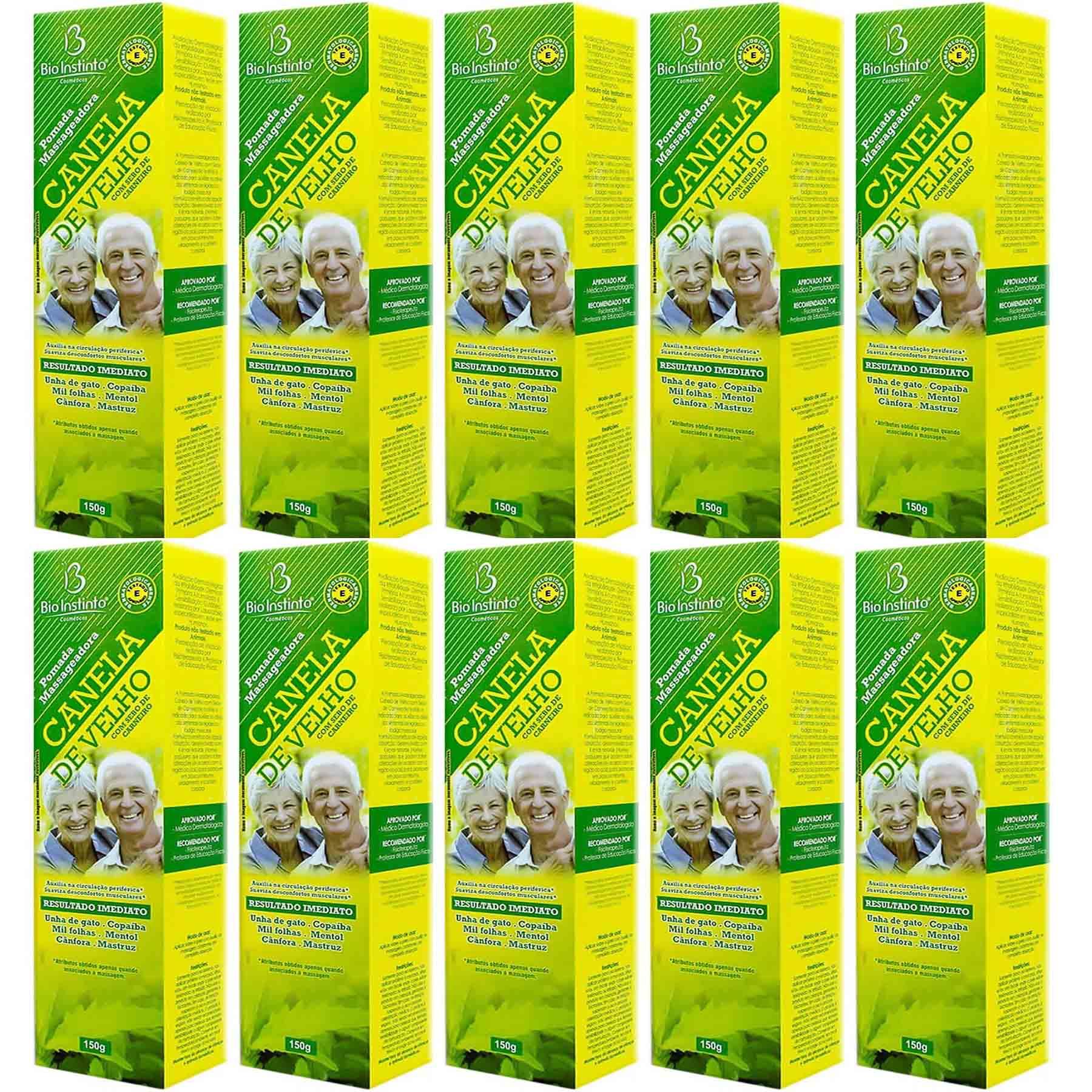 Kit com 10 pomadas Canela de Velho Bio Instinto 150 gramas