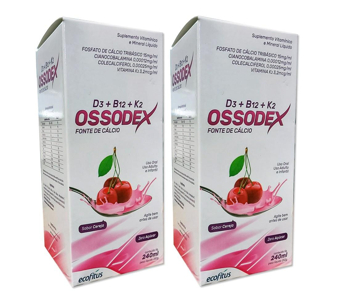 Kit com 2 Caixas Fonte de Cálcio Ossodex Líquido - Sabor Cereja 240mL