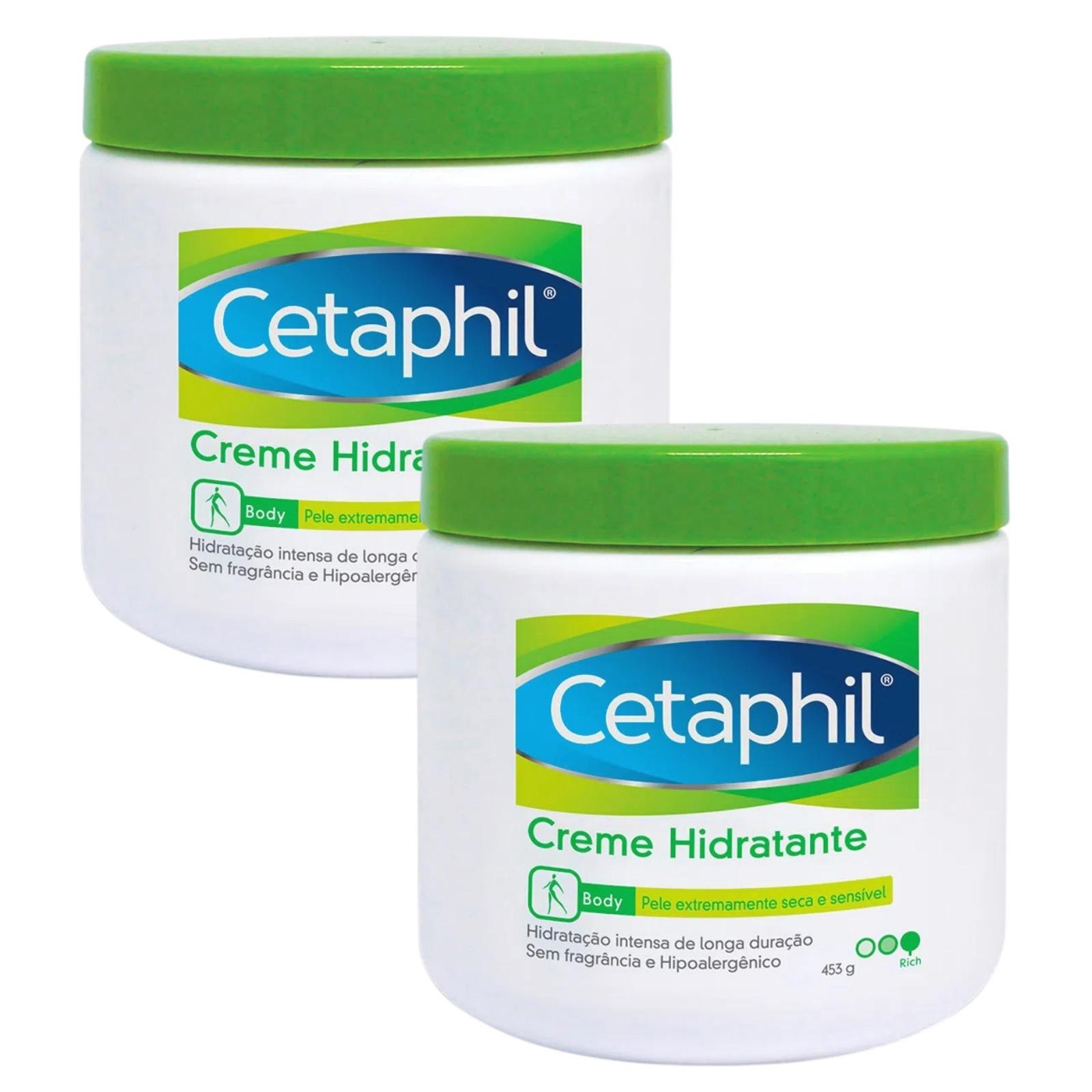 Kit com 2 Potes Creme Hidratante Corporal Cetaphil 453g - Pele Seca e Sensível