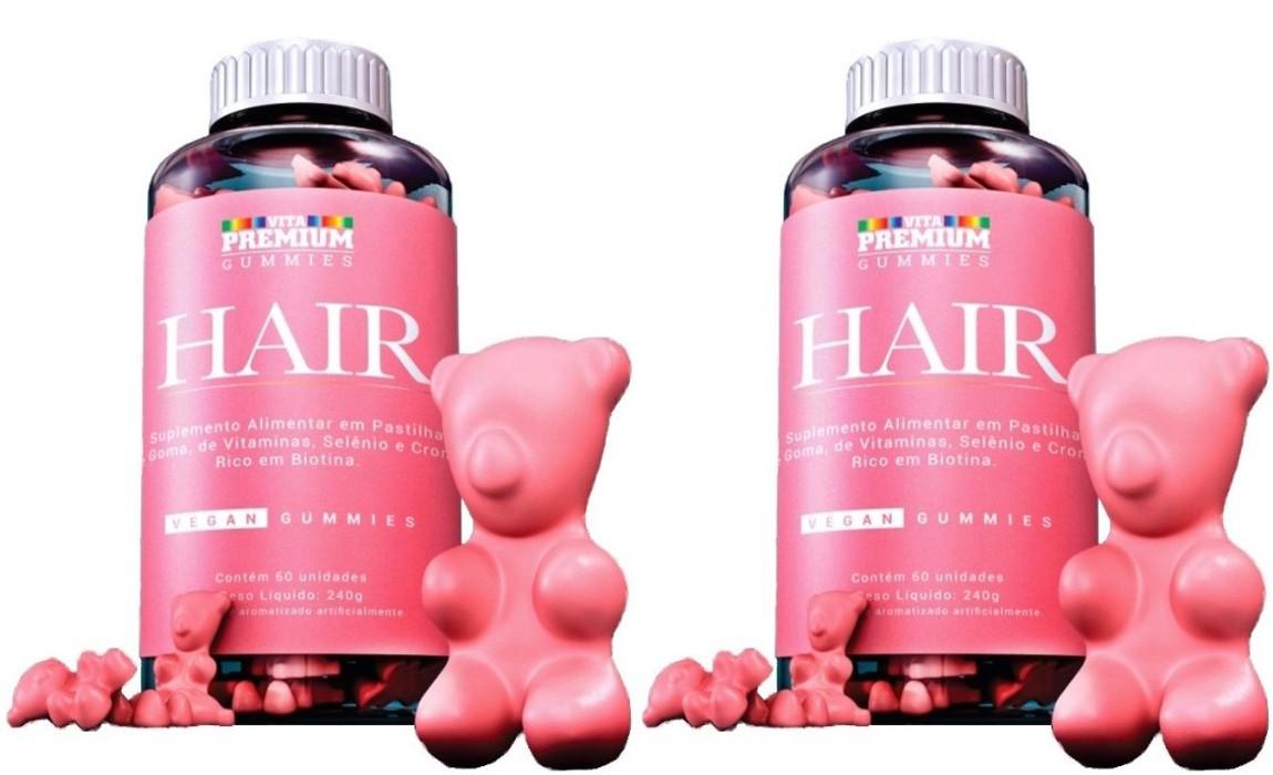 Kit com 2 potes Vitamina para cabelo Vita Premium Gummies Hair com 60 gomas cada