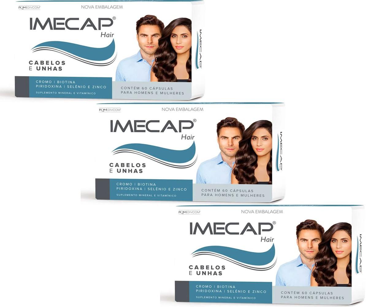 Kit Com 3 Caixas Complexo Vitamínico Para Cabelo Imecap Hair Com 60 Cápsulas