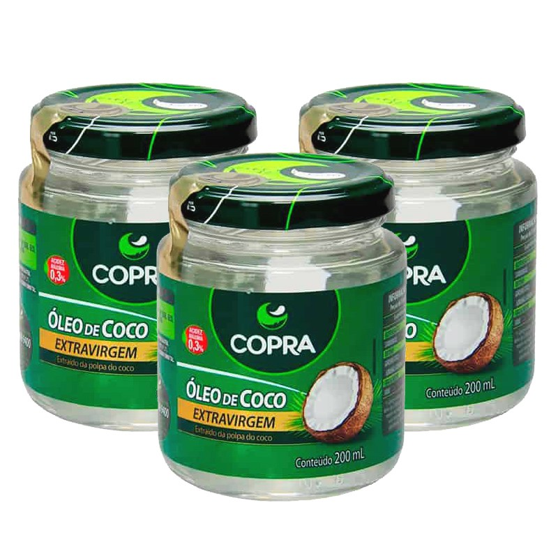 Kit com 3 Potes Óleo De Coco Extra Virgem 200ml Copra