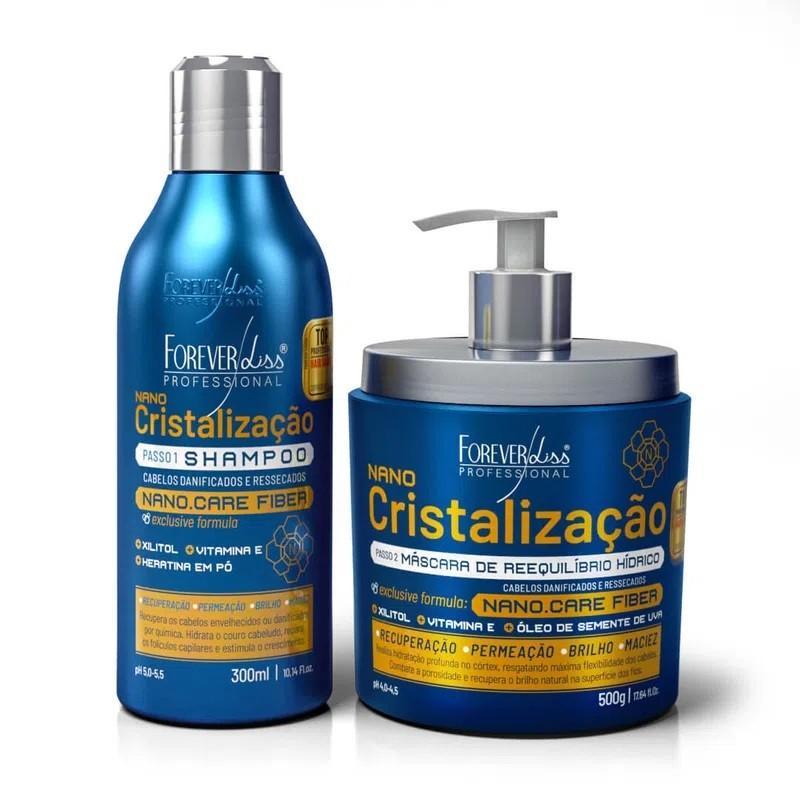 Kit de Cristalização Capilar Forever Liss Shampoo e Máscara - 3 Unidades