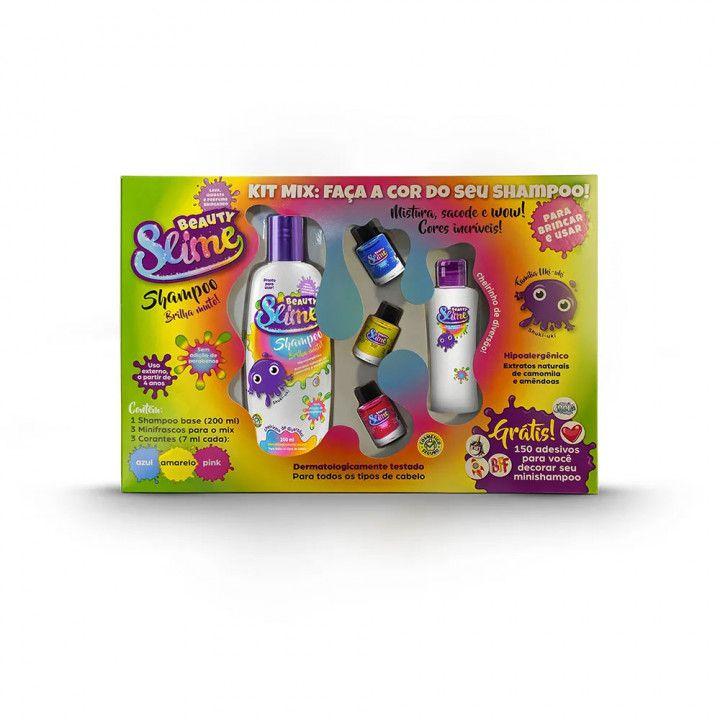 Kit Mix Slime com Shampoo 200 ml + 3 minifrascos + 3 corantes (7ml cada)