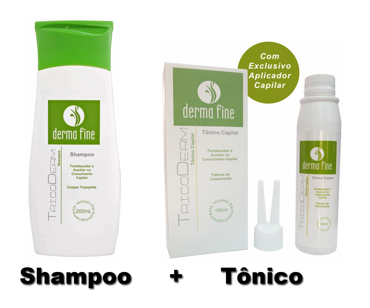 Kit Tratamento Capilar Tônico + Shampoo Tricoderm Derma Fine