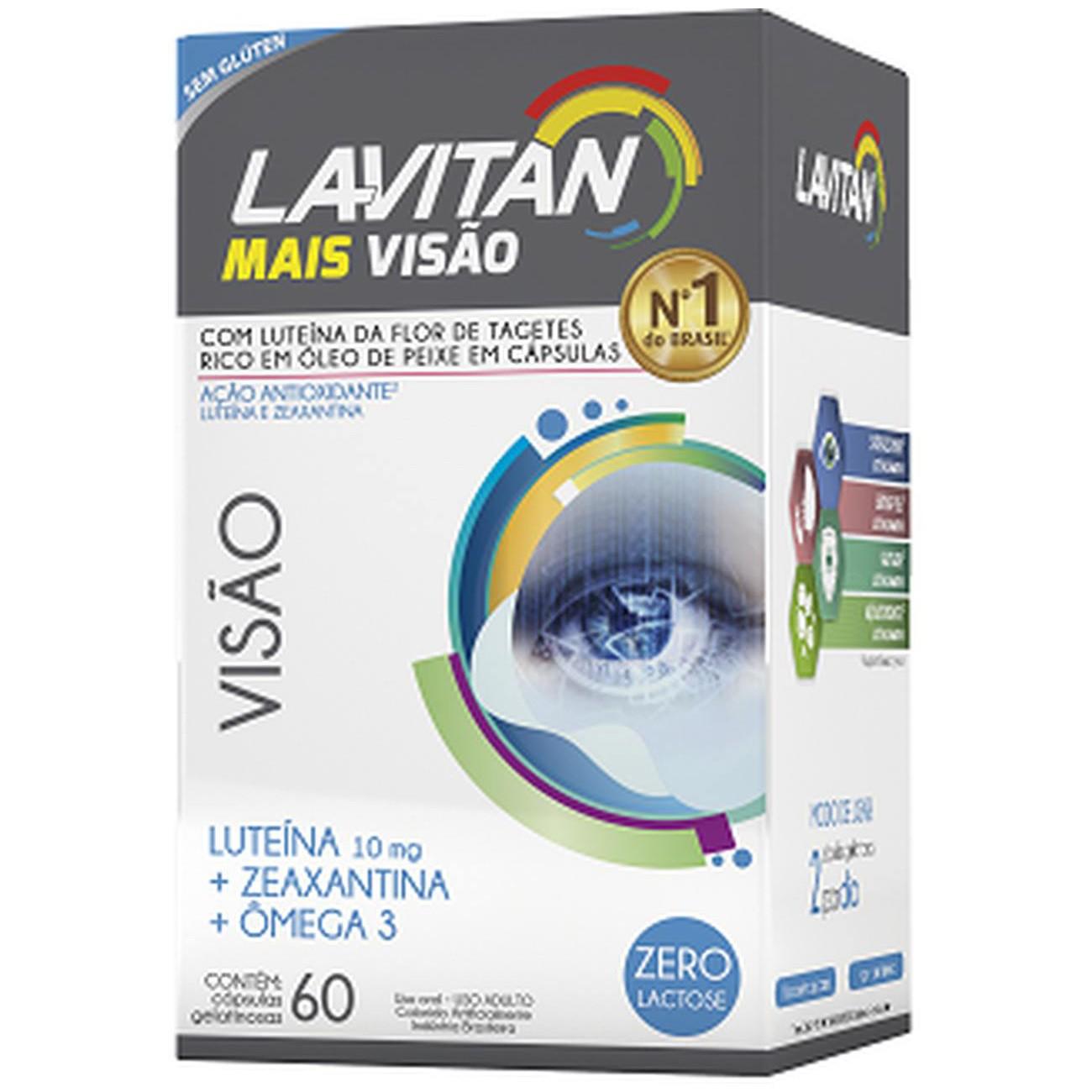 Luteína + Zeaxantina + Ômega 3 Lavitan Mais Visão - 60 Cápsulas