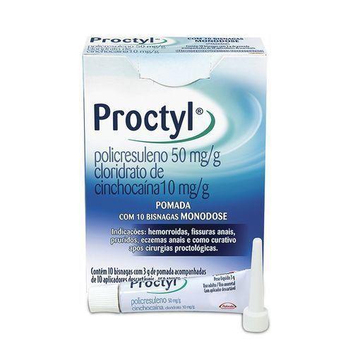 Proctyl Pomada Monodose Contém 10 bisnagas com 3g + 10 Aplicadores - Takeda