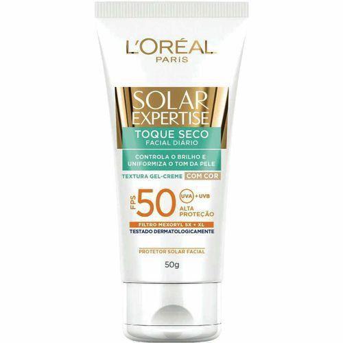 Protetor Solar L'Oréal Expertise Facial Toque Seco com Cor FPS 50  50g