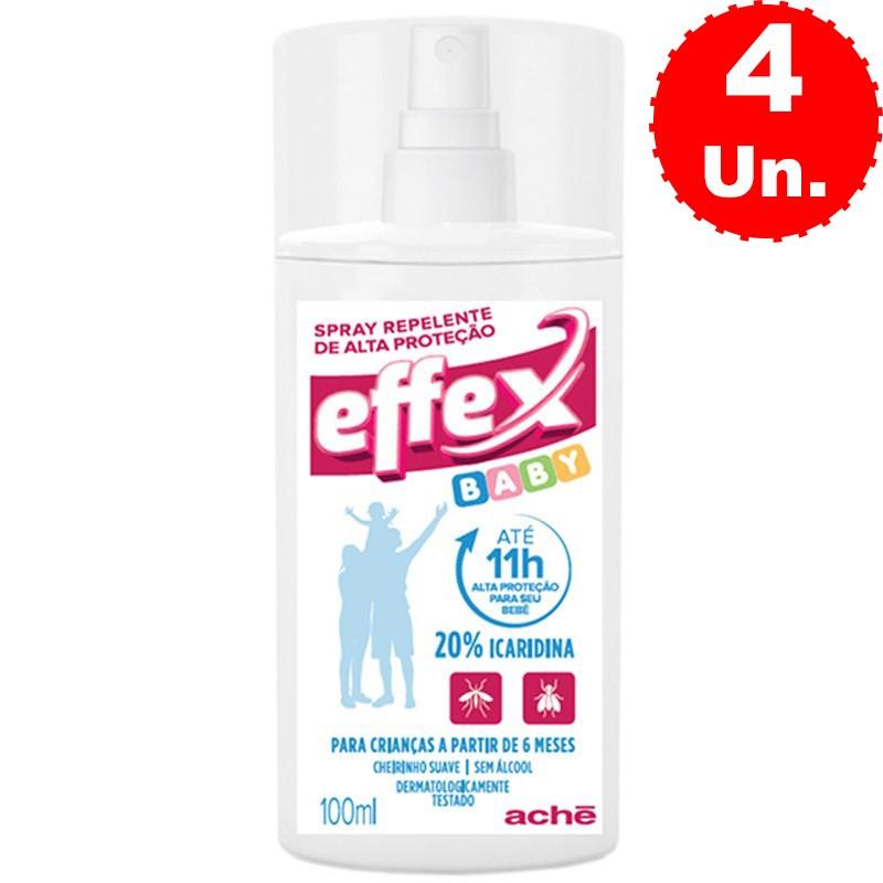 Repelente de Alta Proteção Effex Baby Spray 100mL - Kit com 4 Unidades