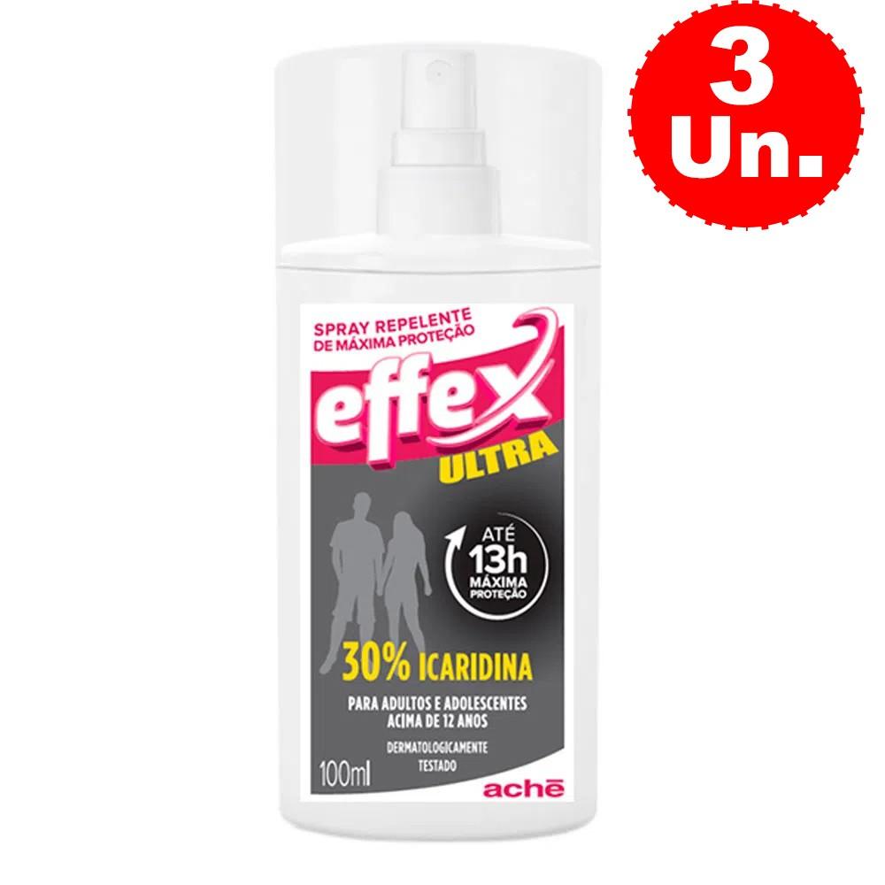 Repelente de Máxima Proteção Effex Ultra Spray 100mL - Kit C/ 3 Unidades