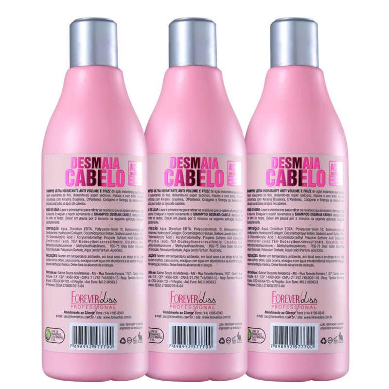Shampoo Forever Liss Desmaia Cabelo 500ml - Kit com 3 Unidades