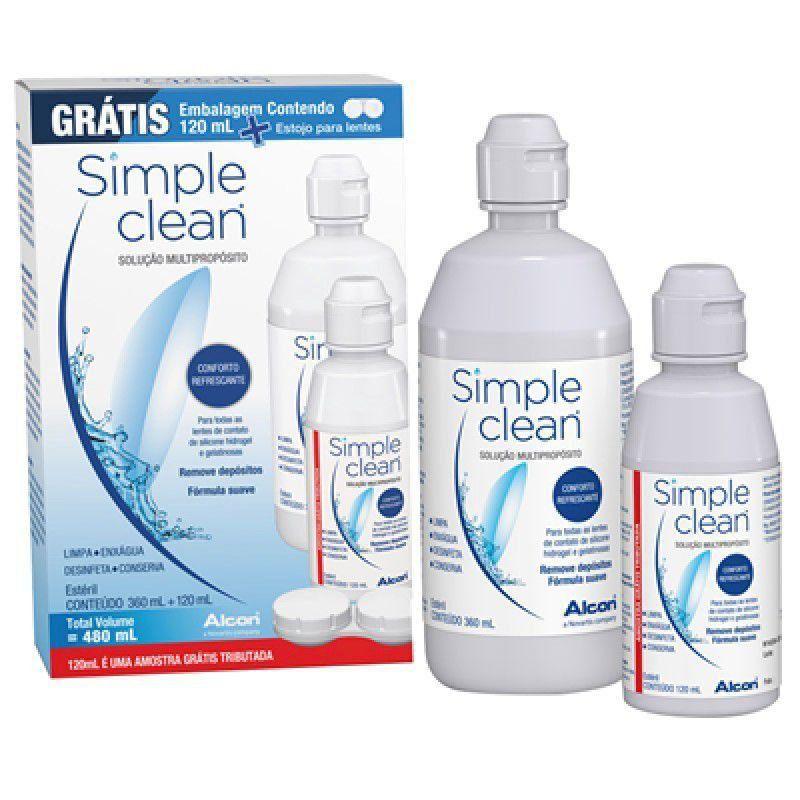 Simple Clean Kit Solução para Lentes de Contato com 360ml + 120ml + 1 Estojo
