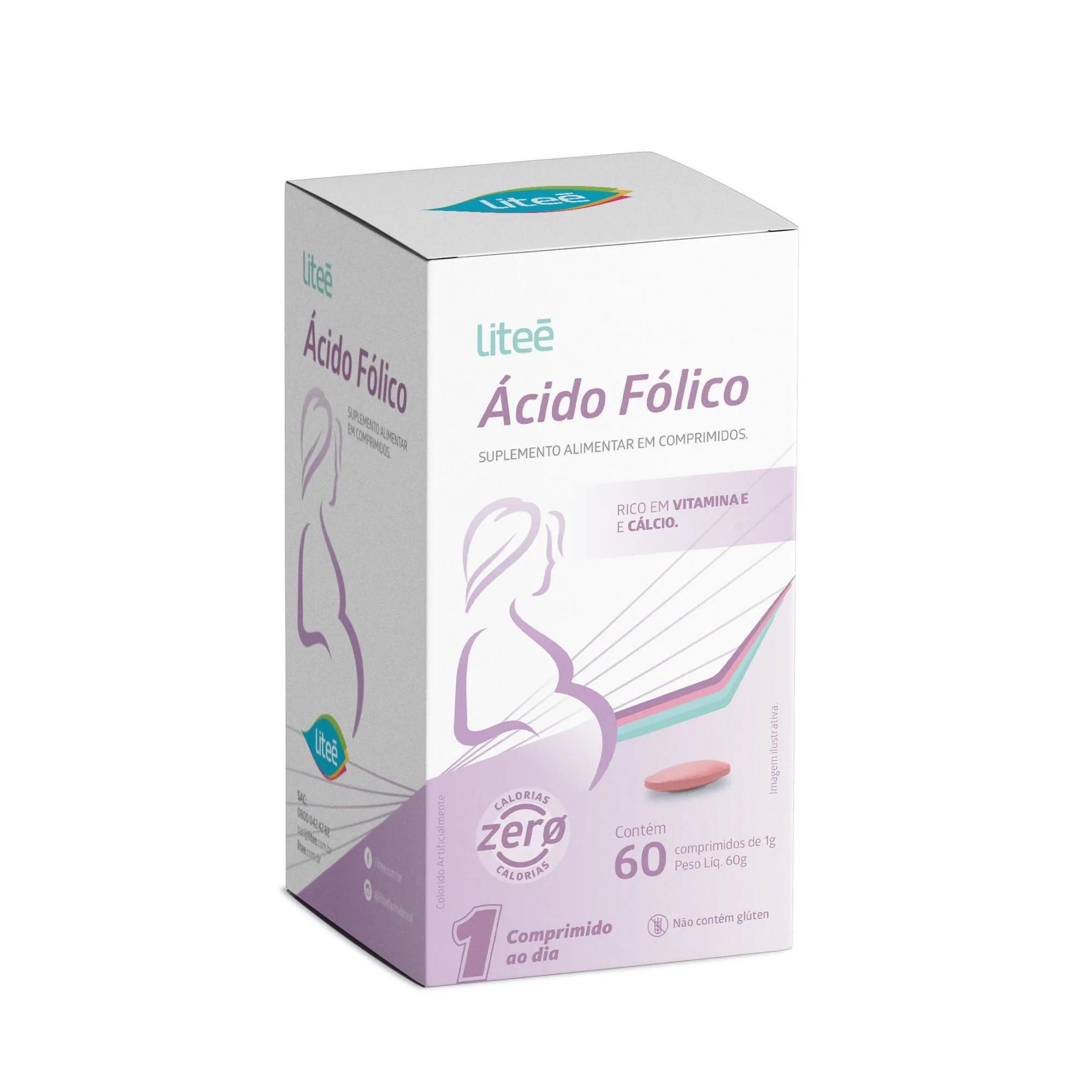 Suplemento de Ácido Fólico Para Gestantes Liteé - 60 Comprimidos