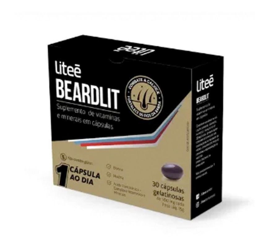 Suplemento Para Barba e Cabelo Litee Beardlit c/ 30 cáps