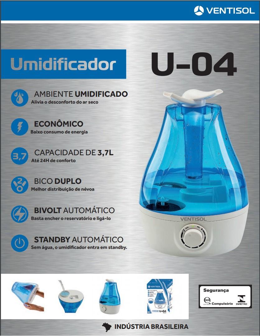 Umidificador de Ar Ultrassônico U-04 Ventisol