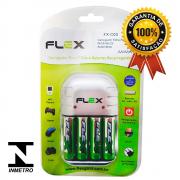 Kit 1 Carregador Flex FX-C03 + 4 Pilhas Recarregáveis Tipo Aa 2900mAh FX-AA29B4
